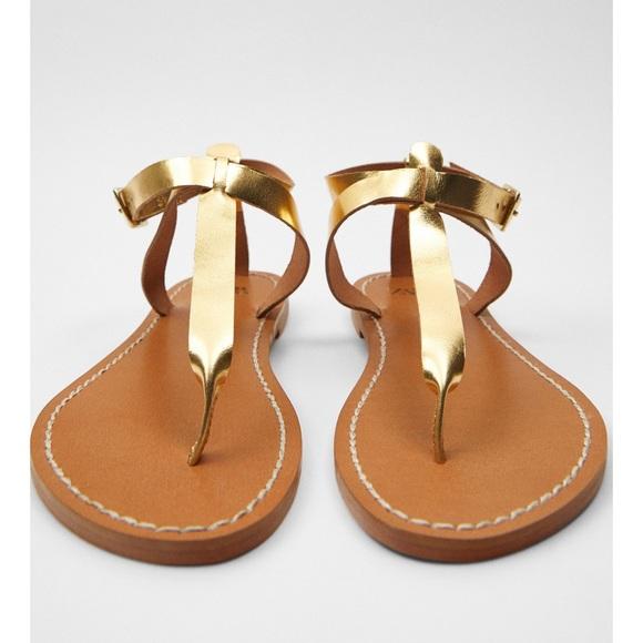 Zara flat laminated leather sandal NWT